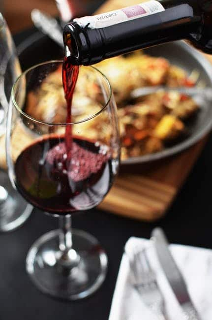 A glass of full-bodies red wine