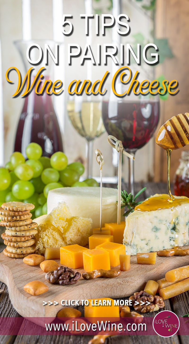 The best part about a wine tasting is the fact that the sommelier knows what wines go best with what cheeses. But when you're out on your own, the choices can seem overwhelming. These five tips will help you with pairing wine and cheese no matter where you are! Click to learn more! Love wine | Wine and Cheese Pairings | Cheese and Wine | Wine Pairing #lovewine #wine #wineandcheese