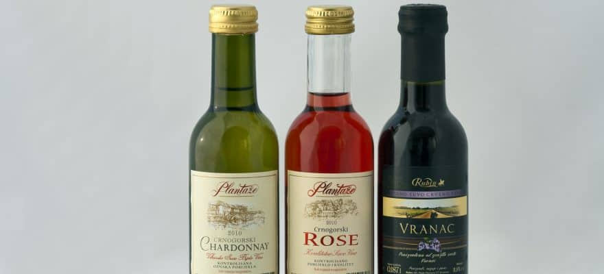 Montenegro wines set mini wine bottles