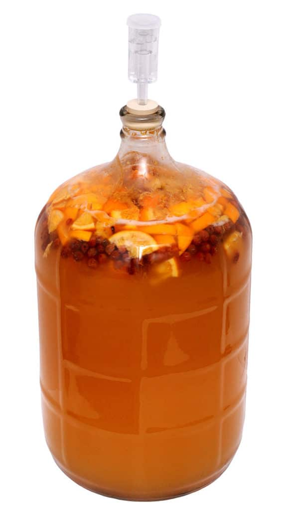 bottle of homemade mead fermenting with fruit