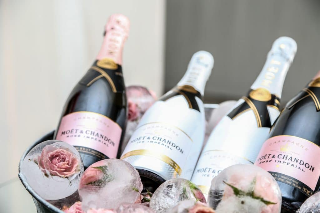 pretty champagne chilling on ice