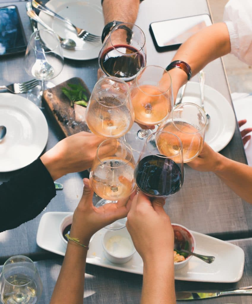 toast with white wines and red wines