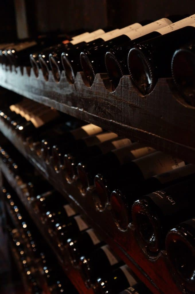 wine cellar filled with wine bottles