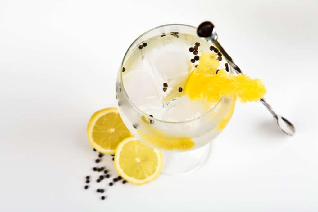 pretty cocktail with lemons