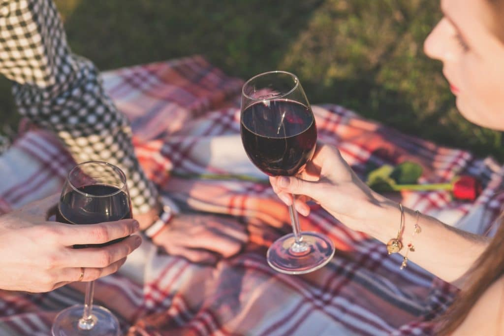 drinking red wine on a picnic blanket