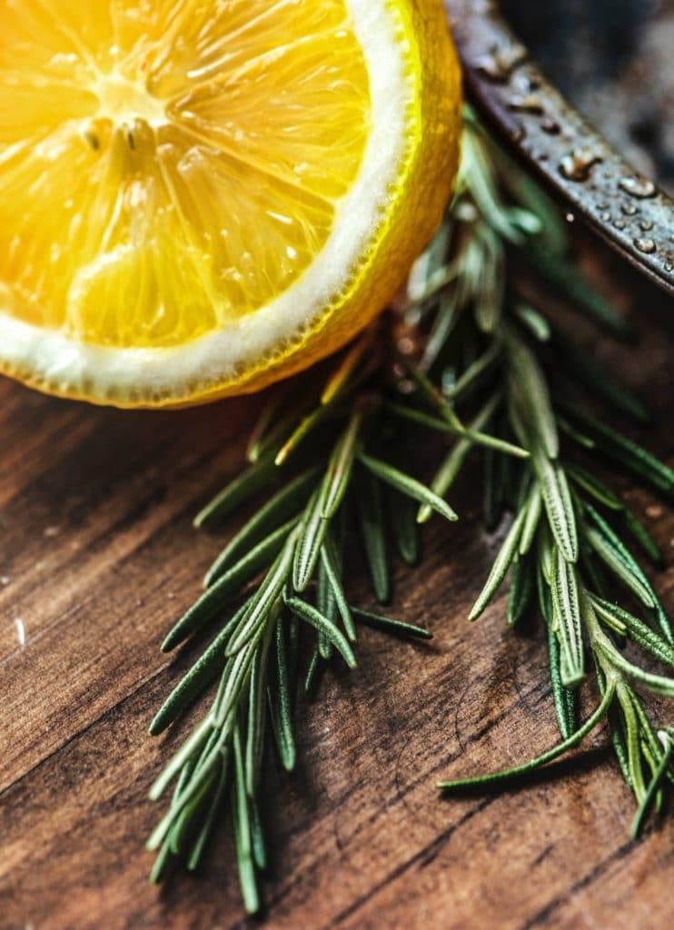 fresh sprig of rosemary and half a lemon