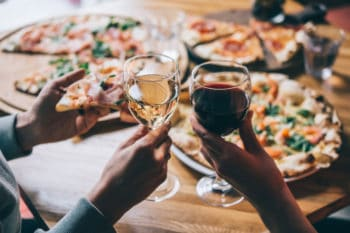 Wine and pizza.