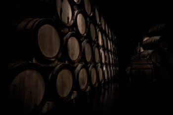 Dozens of oak barrels.