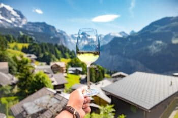 A person holding a glass of white wine in the mountains.